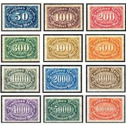 12 عدد تمبر سری پستی - رایش آلمان 1922 بعضی ارقام با شارنیه