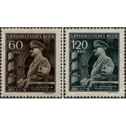 2 عدد تمبر پنجاه و پنجمین سالگرد تولد هیتلر - بوهیما و موراویا 1944