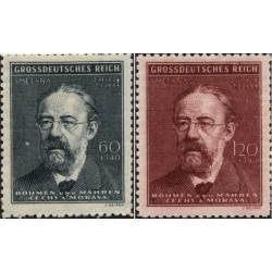 2 عدد تمبر یادبود فردریش اسمتانا - آهنگساز - بوهمیا و موراویا 1944