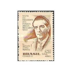 1 عدد تمبر بازدید مکزیک - پست هوائی - برزیل 1960