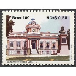 1 عدد تمبر صدمین سال مدرسه نظامی ریودژاانیرو - برزیل 1989