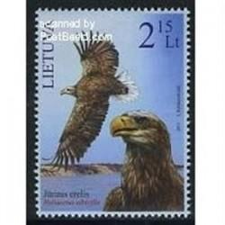 1 عدد تمبر کتاب قرمز - تمبر عقاب دم سفید دریائی - لیتوانی 2011