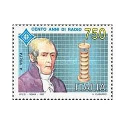 1 عدد تمبر صدمین سالگرد رادیو - ولتا - ایتالیا 1992