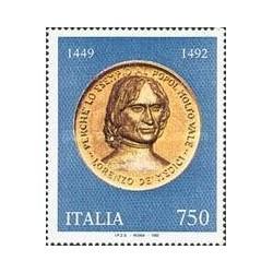 1 عدد تمبر 500مین سال مرگ لورنزو مدیسی - سیاستمدار - ایتالیا 1992