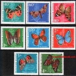 8 عدد تمبر پروانه - مجارستان 1969