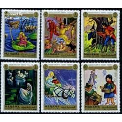 6 عدد تمبر کارتونی قصه های هانس کریستین آندرسن - منامه 1972 دختر کبریت فروش ، جوجه اردک زشت،ملکه برفی و ...