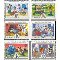 6 رقم از 8 تمبر سری نمایشگاه بین المللی تمبر هند - کاراکترهای والت دیسنی - سنت وینسنت 1989