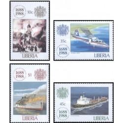 4 عدد تمبر سیصد سالگی لویدز -لیبریا 1988
