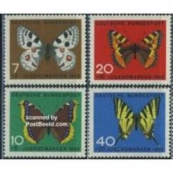4 عدد تمبر جوانان - پروانه ها - آلمان 1962