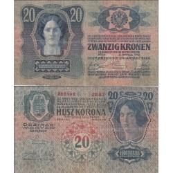 اسکناس 20 کرون - اتریش 1913 غیر بانکی