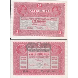 اسکناس 2 کرون - اتریش 1919 غیر بانکی