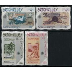 4 عدد تمبر نمایشگاه بین المللی تمبر لندن - اسکناسهای جدید - سیشل 1980