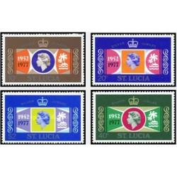4 عدد تمبر 25مین سال سلطنت - سنت لوئیس 1977