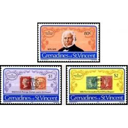 3 عدد تمبر یادبود صدمین سال مرگ رولند هیل - مخترع تمبر - گرندین سنت وینسنت 1979