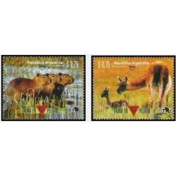 2 عدد تمبر گونه های در معرض انقراض آمریکا - حیوانات - آرژانتین 1996
