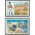 2 عدد تمبر سری پستی - جزائر ترکها و کایکو 1984 قیمت 14 دلار