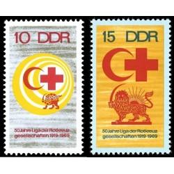 2 عدد تمبر صلیب سرخ  - شیر و خورشید - جمهوری دموکراتیک آلمان 1969