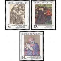 3 عدد تمبر هنر - تابلو نقاشی - گالری ملی پراگ - جمهوری چک 1994