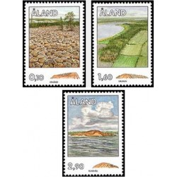 3 عدد تمبر تغییر شکل صخره ها - آلاند 1994