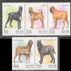 5 عدد تمبر سگها - روسیه 2002