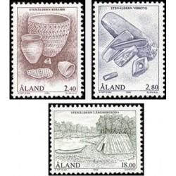 3 عدد تمبر اشیاء عصر سنگی - آلاند 1994 قیمت 8.7 دلار