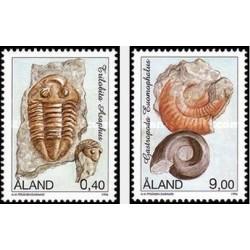 2 عدد تمبر فسیلها- آلاند 1996 قیمت 2.8 دلار