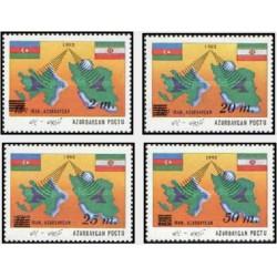 4 عدد تمبر سورشارژ همکاریهای مخابراتی ایران و آذربایجان - آذربایجان 1992