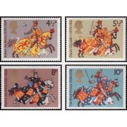 4 عدد تمبر شوالیه های قرون وسطی - انگلیس 1974