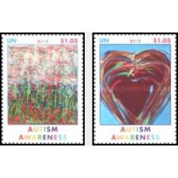 2 عدد تمبر آگاهی از اوتیسم - نیویورک سازمان ملل 2012