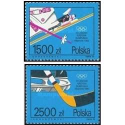 2 عدد تمبر بازیهای المپیک زمستانی آلبرت ویل فرانسه - لهستان 1992