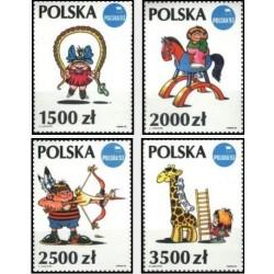 4 عدد تمبر نمایشگاه بین المللی تمبر لهستان در پوژنان - تصویرگری از لوتژین  - لهستان 1992