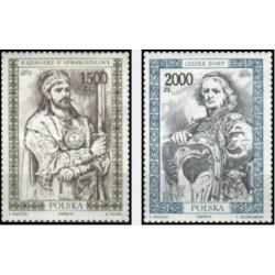 2 عدد تمبر پرتره فرمانروایان لهستانی - لهستان 1991 لهستان 1992
