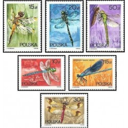 6 عدد تمبر سنجاقکها - لهستان 1988