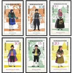 6 عدد تمبر لباسهای محلی - جمهوری دموکراتیک آلمان 1966