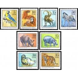 8 عدد تمبر حیوانات باغ وحش  - جمهوری دموکراتیک آلمان 1975