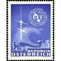 1 عدد تمبر صدمین سال اتحادیه بین المللی مخابرات - UIT - اتریش 1965