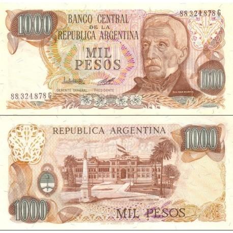 اسکناس 1000 پزو - آرژانتین 1983 فیلیگران تشعشع خورشید
