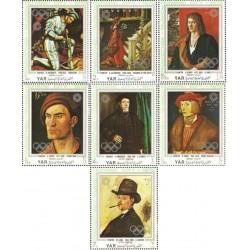 7 عدد تمبر المپیک مونیخ - تابلوهای نقاشی اثر آلته پیناکوتک  - جمهوری عربی یمن 1971