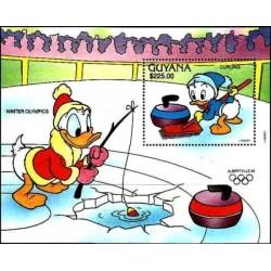 سونیرشیت المپیک زمستانی آلبرویل فرانسه- شخصیتهای کارتونی والت دیسنی-  گویانا 1991 قیمت 5.6 دلار
