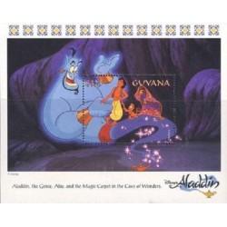 سونیرشیت کارتون علاالدین و چراغ جادو - شخصیتهای کارتونی والت دیسنی-  گویانا 1993 قیمت 6.7 دلار