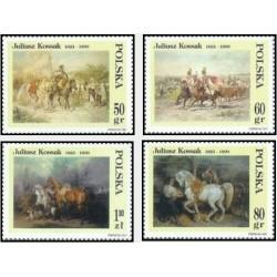 4 عدد تمبر تابلو نقاشی اثر جولیوس کوزاک  - لهستان 1997