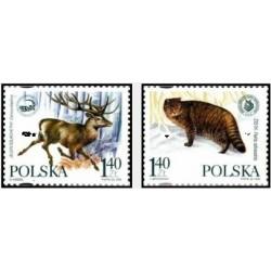 2 عدد تمبر مشترک با اوکراین - حفاظت از محیط زیست بدون مرز - لهستان 1999
