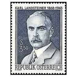 1 عدد تمبر یادبود دکتر کارل لنداشتینر - زیست شناس و ایمونولوژیست - اتریش 1968