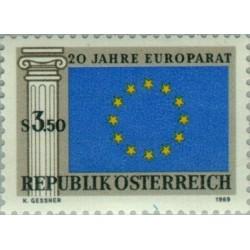 1 عدد تمبر بیستمین سالگرد شورای اروپا - اتریش 1969