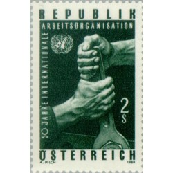 1 عدد تمبر پنجاهمین سالگرد سازمان بین المللی کار- اتریش 1969