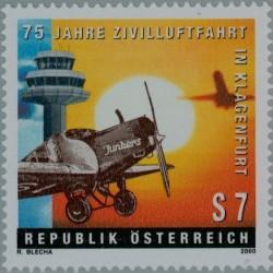 1 عدد تمبر 75 سالگی فرودگاه کلاگنفورت - اتریش 2000