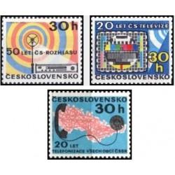 3 عدد تمبر سالگردهای ارتباطات - چک اسلواکی 1973