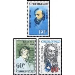 3 عدد تمبر سالروز تولد افراد مشهور  - چک اسلواکی 1974