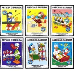 6 رقم از 9 عدد تمبر کاراکترهای والت دیسنی  - 50 مین سال تولد شخصیت دانلد داک - آنتیگوا و باربودا 1984