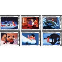 6 عدد تمبر کارتون پیتر و گرگ - والت دیسنی  - مالدیو 1993